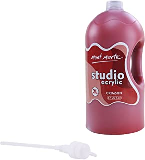 Mont Marte Discovery School Acrylic, Crimson, 1/2 Gallon (2 Liter). Ideal for Students and Artists. Excellent Coverage and Fast Drying. Pump Lid Included.