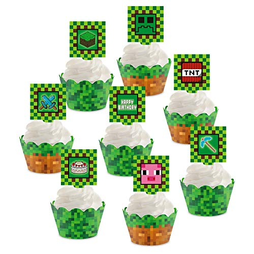 Pixel Miner Cupcake Toppers and Wrappers for Game...
