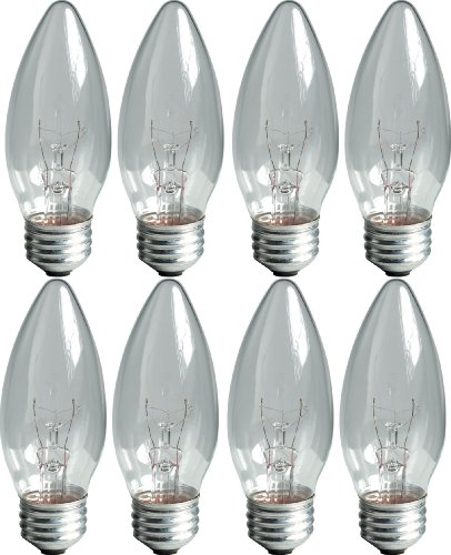 GE Lighting B13 Incandescent Chandelier Light Bulbs, 25-Watt, Crystal Clear Finish, Decorative, 170 Lumen, Medium Base, 8-Pack