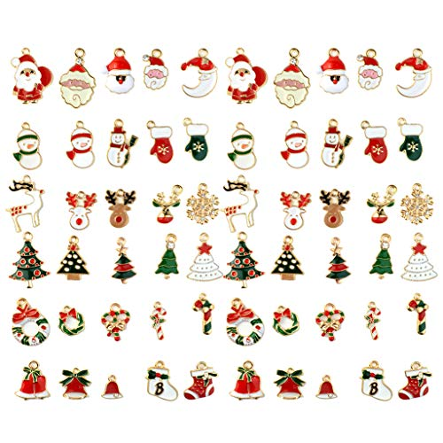 Bskifnn 60pcs Charms for Jewelry Making Christmas DIY Craft Supplies for Necklace Bracelet Making Clothes Earring and More