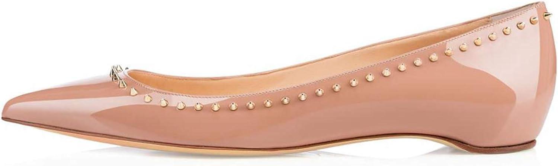 MRxcff Women Ladies Handmade Fashion Flats Mini Spikes Pointy Patent Leather Party Dress Flats shoes