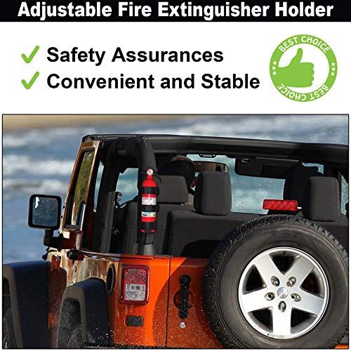 Jeep Wrangler Roll Bar Fire Extinguisher Mount Holder Adjustable Fire Extinguisher Holder Auto Interior Accessories for JK JKU JL TJ CJ - Jeep Lover Gifts (Without Extinguisher) - Black