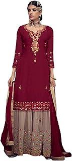 Ethnic Festive Party Wear Faux Georgette Sharara Kameez Suit Indian Women Dress Muslim Semi-stitch Eid 8760