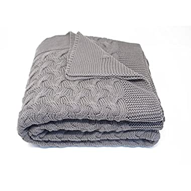 Soft 100% Cotton Throw Blanket, Knit Crochet Sweater Texture, for Couch Sofa Bed, Grey 51 x 67 Inch