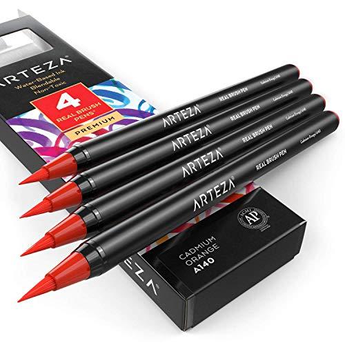 Arteza echte Pinselstifte, A140 Kadmiumorange 4er-Pack, Fasermaler mit flexiblen Nylon-Pinselspitzen, hochwertige Malstifte für Aquarellmalerei zum Ausmalen, Kalligraphie und Zeichnen
