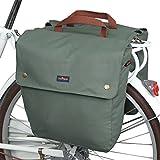 TOURBON Canvas Bike Bags Rear Rack Roll-up Bicycle Panniers Waterproof