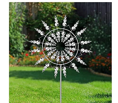 Delisouls - Mulino a vento in metallo unico e magico, giratore cinetico con palo da giardino, con...