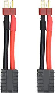 Youme 2PCS Male Deans T to Female TRX Traxxas toConnector Adapter Cable, RC Lipo Battery Charger Conversion Adapter Wire for Traxxas Slash E Revo(1.9inch 12AWG)