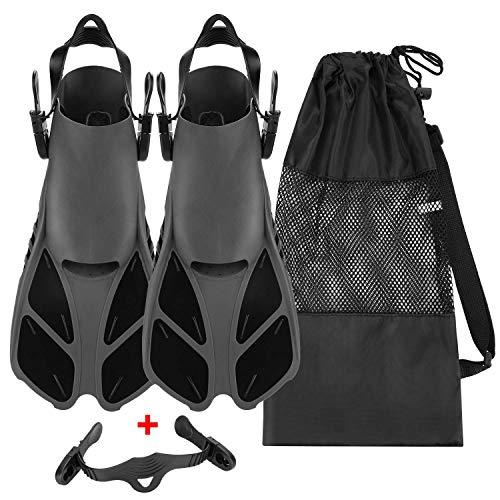 QKURT Unisex Premium Flossen, Kürzerer Flosse mit Mesh Bag und Extra-Riemen zum Tauchen, Apnoe, Schnorcheln und Schwimmen