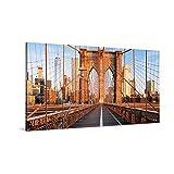 PICANOVA – New York Brooklyn Bridge 100x50cm – Cuadro sobre Lienzo – Impresión En Lienzo Montado sobre Marco De Madera (2cm) – Disponible En Varios Tamaños – Colección New York