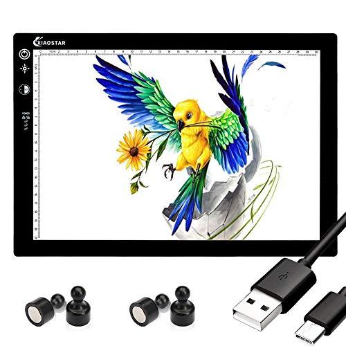 Tablero de copia LED, caja de luz superfina, almohadilla de dibujo, mesa de trazado, cable USB con brillo ajustable para artistas, animación, dibujo, animación, visualización de rayos X (A4-STK-Blck) ⭐