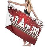 Toallas de baño, vacaciones de invierno de Navidad Tema de pan de jengibre Casa con árboles y copos de nieve, Super suave, Alto Absorbente, Manta de toalla grande para baño, Playa o Piscina, 52 'x 32'