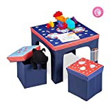 Relaxdays Mobiliario Plegable, Taburetes de Almacenamiento, Mesa Infantil, Azul, DM, plástico y gomaespuma, 48 x 59,5 x 59,5 cm