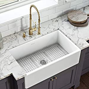 Ruvati 33 inch Fireclay Farmhouse Apron-Front Kitchen Sink- RVL2300WH