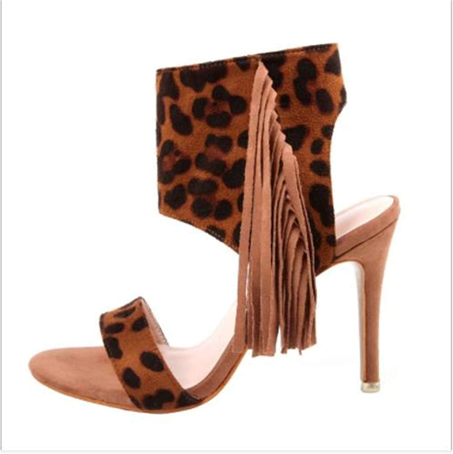 FLourishing Womens Pointy Open Toe Side Cut Out Heeled Sandals Leopard Tassel Zip up Stiletto Heeled Bootie Party shoes