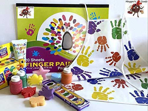 Finger Paint Washable Kids Art Set Smock Paper Pad Sponge Shapes Crayola Bathtub Soap Non-Toxic
