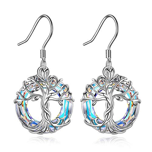 TOUPOP Tree of Life Dangle Earrings for Women s925 Sterling Silver Drop Earrings with Circle Crystal Birthday Mother's Day Jewelry Gifts