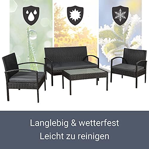 ArtLife Polyrattan Sitzgruppe Trinidad – Gartenmöbel Set mit Bank, Sessel & Tisch für 4 Personen – schwarz mit grauen Bezüge – Terrassenmöbel Balkonmöbel Lounge - 5