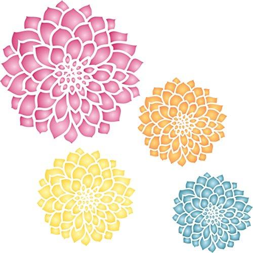Zinnia Schablone–wiederverwendbar Groß Fancy Blumen Wandbild Wand Schablone–Vorlage, auf Papier Projekte Scrapbook Tagebuch Wände Böden Stoff Möbel Glas Holz etc, L