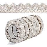 6 rollos de cinta de encaje vintage de color beige, decoración de encaje autoadhesiva, cinta de encaje decorativa, cinta de encaje autoadhesiva, cinta de tela para manualidades, boda, decoración