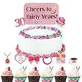 Qpout 24 Adornos para tarta de cumpleaños para mujer de 30 años, rosa, 30 años, decoración para tartas de cumpleaños, púas para cupcakes, 30 cumpleaños, bodas, aniversario, fiesta, suministros