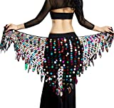 Girls Belly Dancing Belt Sequins Mesh Triangle Hip Scarf Belt Fringe Skirt Sexy Multicolored Dancing Costume for Halloween