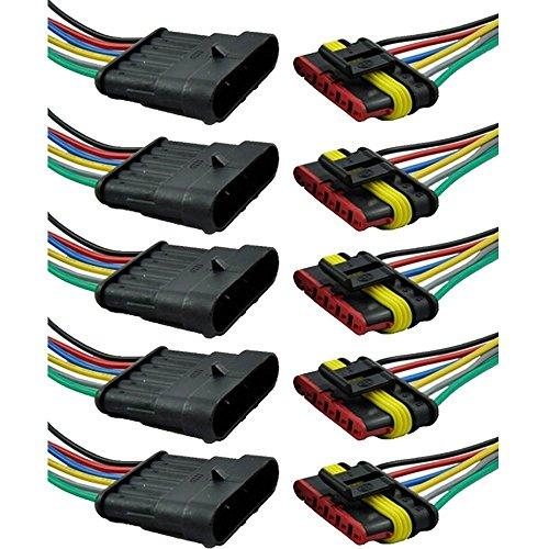 Mintice trade; 5 X 6-Polig Kabel Steckverbinder Stecker Wasserdicht Schnellverbinder Draht Elektrisch Ausrüstung KFZ LKW