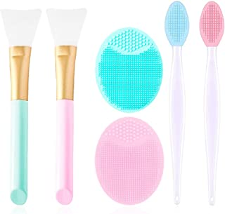 2PCS Silicone Face Mask Brush 2PCS Face Scrubber and 2PCS Exfoliating Lip Brush, Facial Applicator Brushes for Applying Fa...