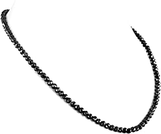 Round Black Diamond 4mm Beads Necklace in 18K Gold Clasp 20
