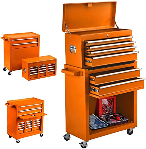 8-Drawer Rolling Tool Chest, High Capacity Tool Chest Tool Cabinet with Keyed Locking System, Removable Tool Box Organizer, Tool Box with Sliding Drawers and 4 Wheels for Workshop Garage (Orange)