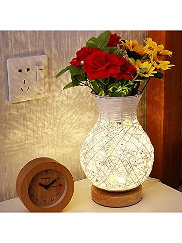 TITA-DONG Florero de flores LED luces de noche decorativas, fuente de alimentación USB, decoración festiva de la habitación para dormir luz de noche florero para festival, Navidad, boda