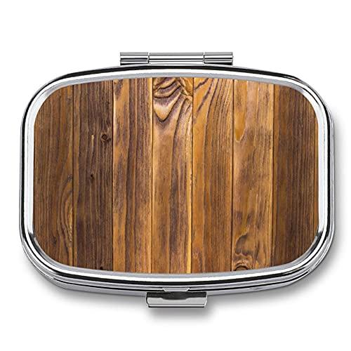 Pastillero cuadrado liso de 2 compartimentos, 5,5 x 4 x 1,5 cm, bañado en plata, acabado de alta calidad, estructura de madera antigua con natural
