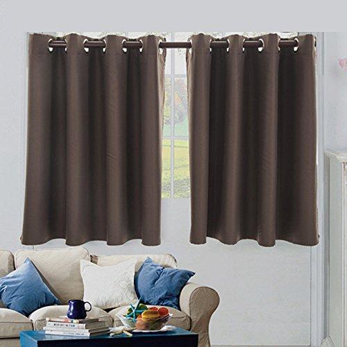 NIBESSER 2 Stück Einfarbige Scheibengardine Küchen Vorhang Blickdicht mit Ösen für Küche Kleine Fenster (74cmx90cm, Kaffeebraun)