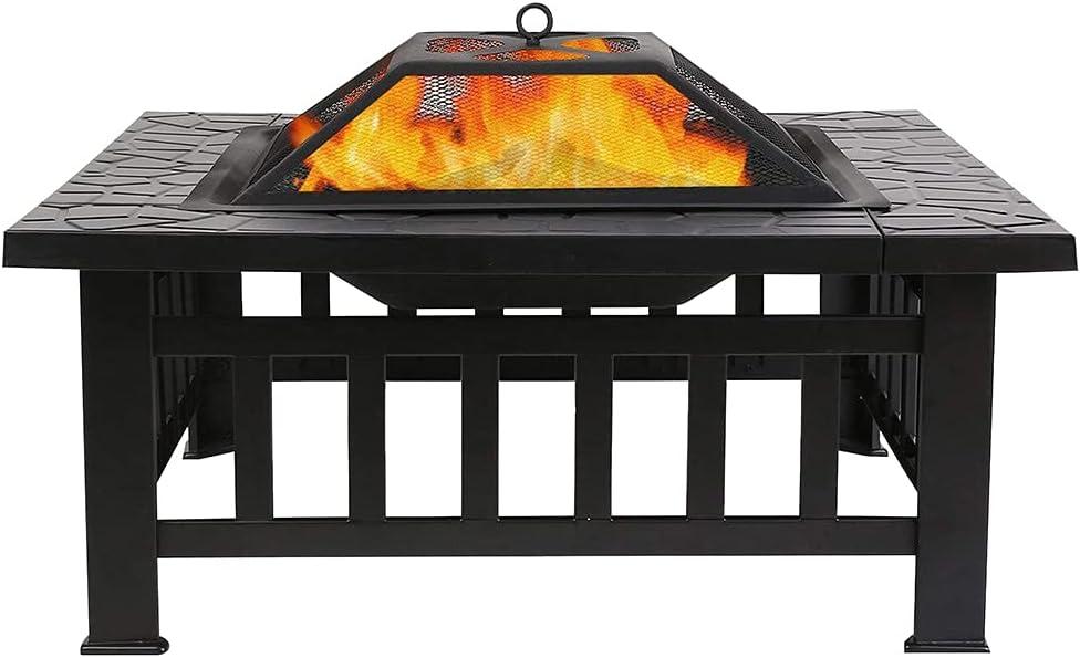 DriSubt Brasero Exterior con Cubierta Impermeable, Multifuncional Brasero de Metal 3 en 1 como Pozo de Fuego/BBQ/Cubo de Hielo para Terraza Patio y Jardín, Color Negro