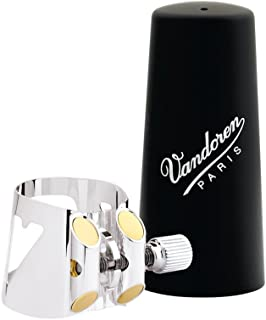 Vandoren LC04P Optimum Ligature and Plastic Cap for Bass Clarinet Silver Plated with 3 Interchangeable Pressure Plates