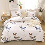 Merryword White Blue Bedding Blue Butterfly Duvet Cover Set Blue Red Butterflies and Dragonfly Printed Design White Boys Girls Bedding Sets Twin 1 Duvet Cover 1 Pillowcase (Twin, Blue Butterfly)