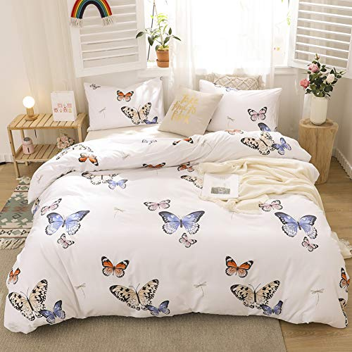 Merryword Blue Butterfly Bedding White Duvet Cover Set Blue Red Butterflies and Dragonfly Printed Design White Boys Girls Bedding Sets King 1 Duvet Cover 2 Pillowcases (King, Blue Butterfly)