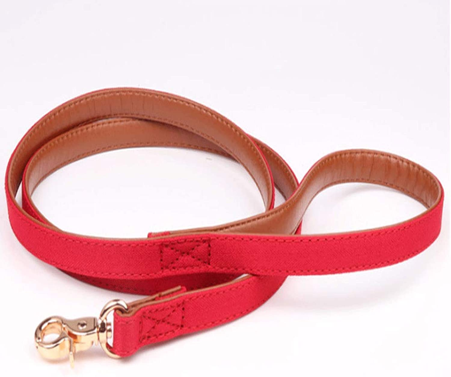 Set Pet Dog Triangle Towel Collar Pu Dog Chain Pet Leash (color   RED, Size   M)