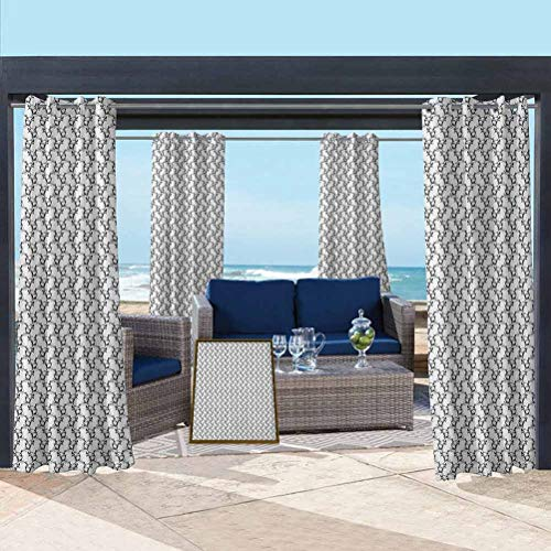Black and White Thermal Blackout Window Curtain for Outdoor Pergola/Patio/Balcony Classical Curled Leaves Antique Revival Pattern with Victorian Influences Black White 100W x 84L Inch