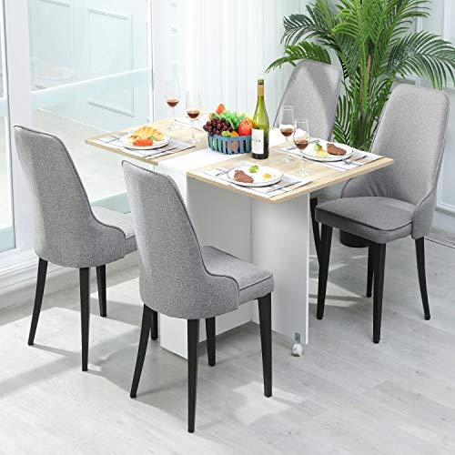 DICTAC Esszimmerstühle 4er Set Polsterstuhl Küchenstuhl mit Lehne grau Leinen Stoff Stuhl Wohnzimmerstuhl Schwarz Metall stuhlbeine belastbar 200kg