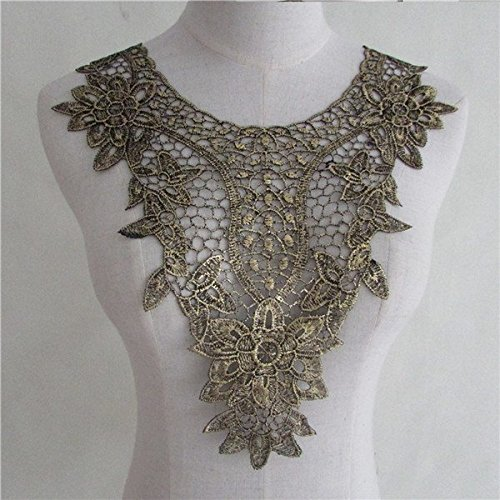 1pcs Golden Floral Lace Collar Fabric Trim DIY Embroidery Lace Fabric Neckline Applique Sewing Craft