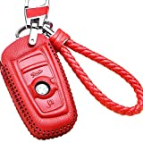 WAFERN for BMW Smart Key case Cover Keychain in Red 1 3 5 6 7 Series X1 X3 X4 X5 X6 E87 F20 E90 E92 E93 F30 F35 F34 F31 3GT 5GT Carbon Fiber Keychains Key Protective Case Cover