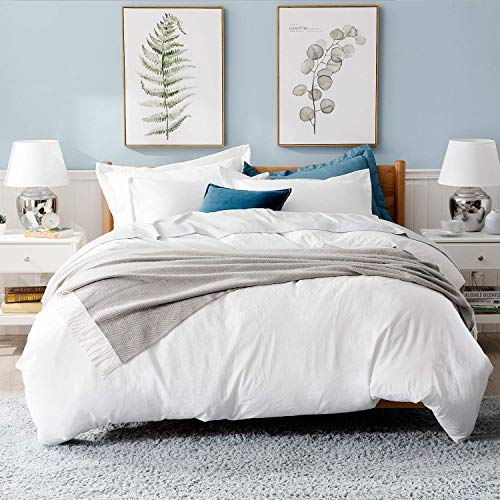 Bedsure White Duvet Covers Queen Size - Washed Cotton Like Soft Queen Duvet Cover Set 3 Pieces with Zipper Closure, 1 Duvet Cover 90x90 inches and 2 Pillow Shams