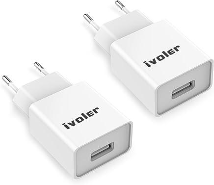 iVoler [2 Pack] Super Mini Caricatore da Muro Portatile a 1 Porte (5W/ 1A) per iPhone X,Ultra Compatto Caricabatterie USB Alimentatore Caricatore per iPad, Samsung, Smartphone ECC - Bianco