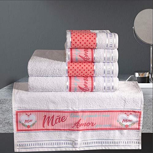 Jogo de Banho Dia das Mães Branco 285 g/m² 100% Algodão 05 Peças