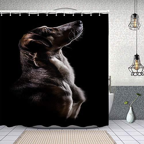 Airmark Cortina Baño,Retrato de Perro Fuerte en Negro,Cortina de Ducha Tela de Poliéster Resistente Al Agua Cortinas de Ducha Baño con 12 Ganchos,180x180cm