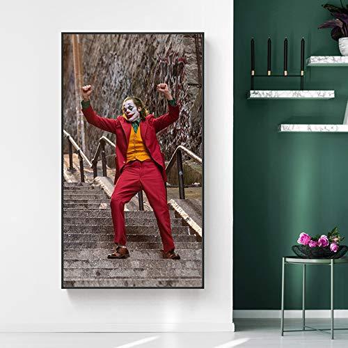 ganlanshu Wandbild im Wohnzimmer Film Clown Charakter Bild Wand Leinwand Filmplakat,Rahmenlose Malerei-40X70cm