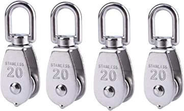 4 Pcs 20MM Single Pulley Block, Stainless Steel Wire Rope Crane Pulley Block M20 Pulley Roller Lifting Crane Swivel Hook Hanging Wire Towing Wheel