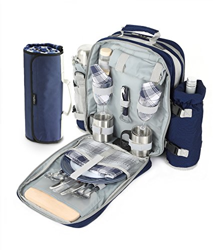 Greenfield Collection Super Deluxe Picknick-Rucksack für 2 Personen mit passender Picknickdecke, Marineblau, 21 x 32 x 40 cm