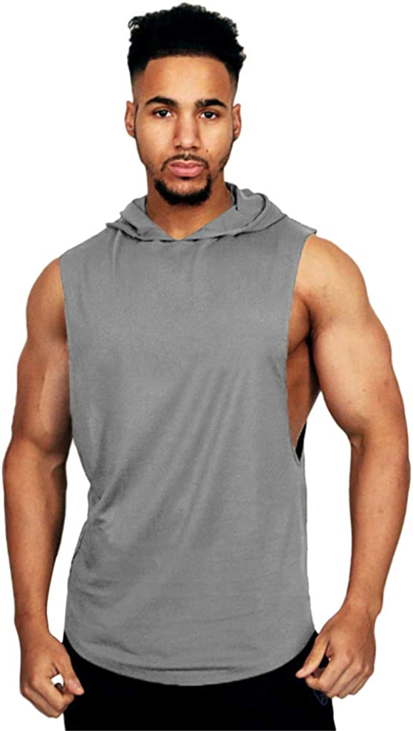 F_Gotal Men's Big&Tall Gym Workout Bodybuilding Stringer Tank Top Shirts Solid Casual Sleeveless Hoodie Muscle Vest